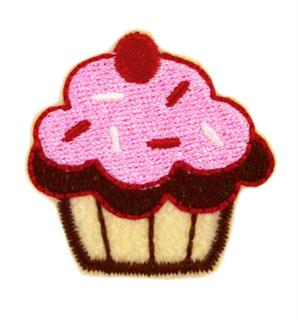 Patch Bordado Termocolante Muffin Rosa