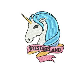 "Patch Bordado Termocolante Unicórnio ""Wonderland"" Azul"