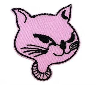 Patch Bordado Termocolante Gato Rosa