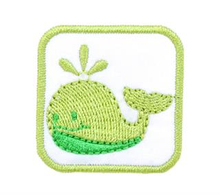 Patch Bordado Termocolante Baleia Verde