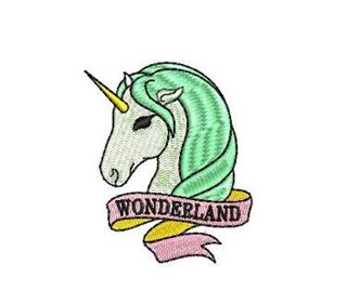"Patch Bordado Termocolante Unicórnio ""Wonderland"" Verde"