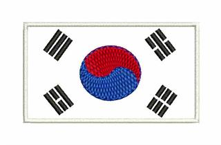 Patch Bordado Termocolante Bandeira Coreia Do Sul