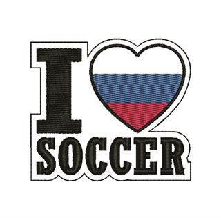 "Patch Bordado Termocolante ""I Love Soccer"""
