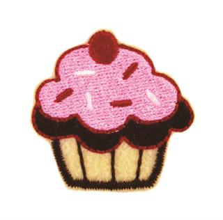"Patch Bordado Termocolante ""Muffin Rosa"""