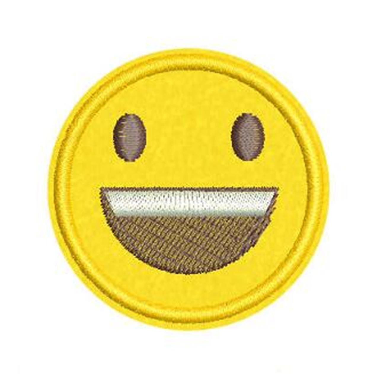 Patches Bordados Termocolantes E Rendas - Termocolante Emoji Sorrindo